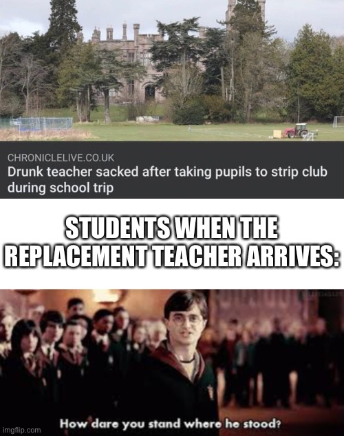 Irreplaceable |  STUDENTS WHEN THE REPLACEMENT TEACHER ARRIVES: | image tagged in blank white template,how dare you stand where he stood,funny,memes,funny memes,harry potter | made w/ Imgflip meme maker