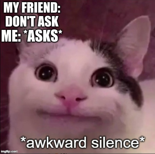 Hmmmmmmmm...Lemme think... |  MY FRIEND: DON'T ASK; ME: *ASKS* | image tagged in awkward silence cat,lol so funny,lol,hahahaha,haha | made w/ Imgflip meme maker