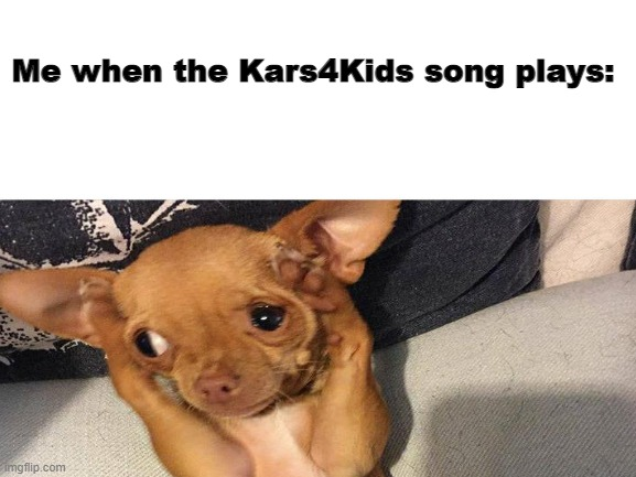 I can't stand this stupid song |  Me when the Kars4Kids song plays: | image tagged in dog,dog covering ears,kars4kids | made w/ Imgflip meme maker