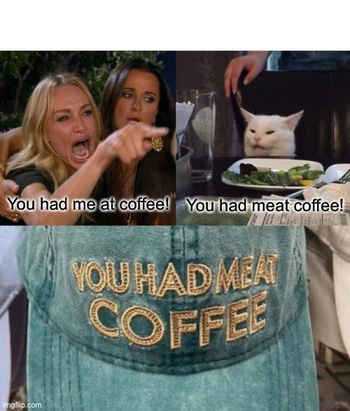 Meat Coffee |  You had me at coffee! You had meat coffee! | image tagged in memes,woman yelling at cat | made w/ Imgflip meme maker