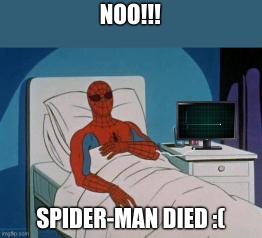 rest in peace spider-man (sad) |  NOO!!! SPIDER-MAN DIED :( | image tagged in memes,spiderman hospital,spiderman | made w/ Imgflip meme maker