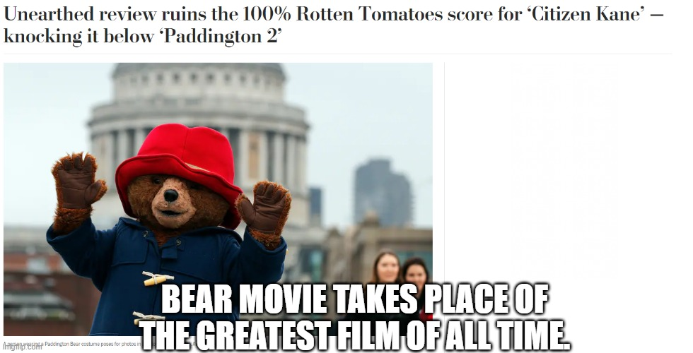 Paddington and Citizen Kane |  BEAR MOVIE TAKES PLACE OF THE GREATEST FILM OF ALL TIME. | image tagged in citizen kane | made w/ Imgflip meme maker