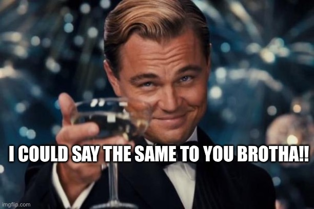When someone insults you... |  I COULD SAY THE SAME TO YOU BROTHA!! | image tagged in memes,leonardo dicaprio cheers | made w/ Imgflip meme maker
