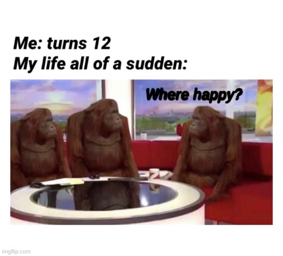 Where happy? |  Me: turns 12; MY LIFE ALL OF A SUDDEN:; Where happy? | image tagged in where banana,memes | made w/ Imgflip meme maker