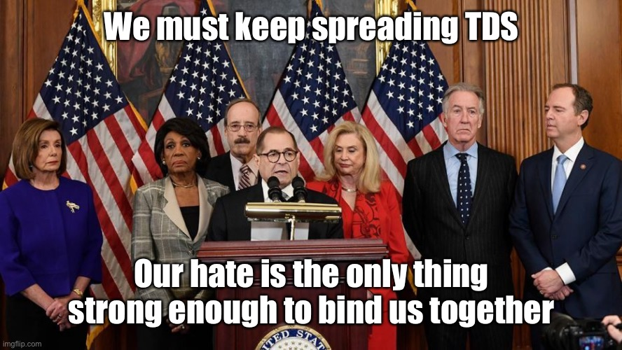 House Democrats | We must keep spreading TDS Our hate is the only thing strong enough to bind us together | image tagged in house democrats | made w/ Imgflip meme maker