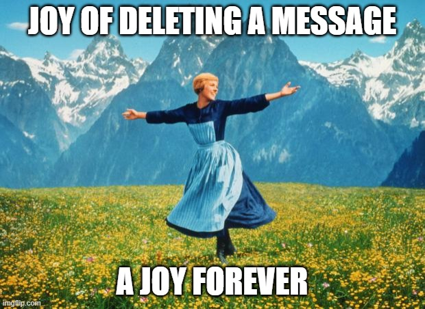 Look At All These (high-res) |  JOY OF DELETING A MESSAGE; A JOY FOREVER | image tagged in look at all these high-res | made w/ Imgflip meme maker