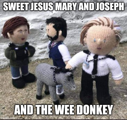 In the Line of Donkey |  SWEET JESUS MARY AND JOSEPH; AND THE WEE DONKEY | image tagged in police,british,humour,tv shows | made w/ Imgflip meme maker