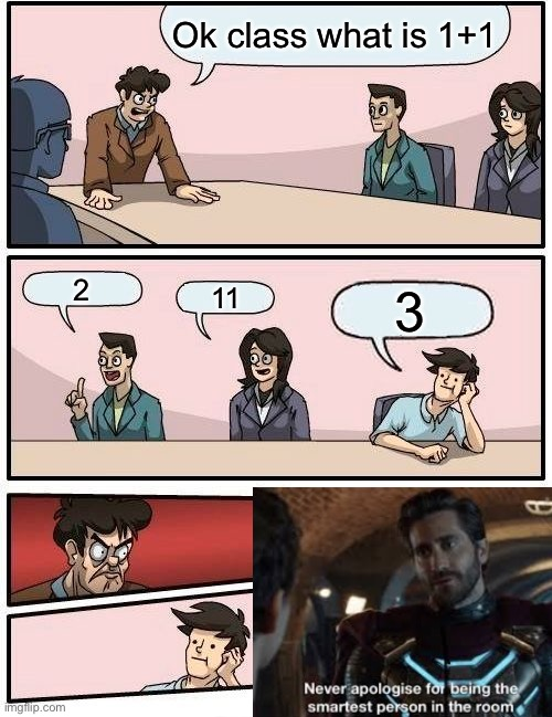 Tru |  Ok class what is 1+1; 2; 11; 3 | image tagged in memes,boardroom meeting suggestion | made w/ Imgflip meme maker