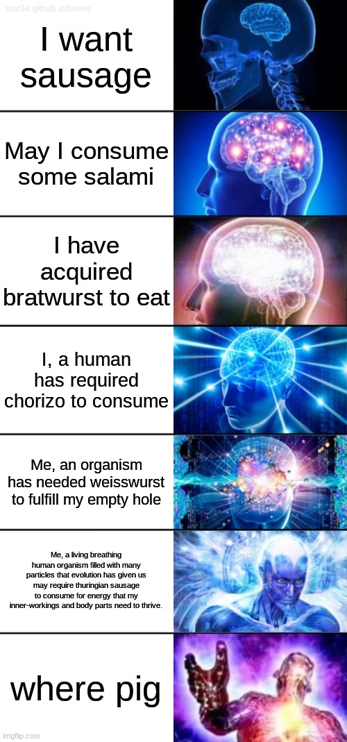 me is big bran |  I want sausage; May I consume some salami; I have acquired bratwurst to eat; I, a human has required chorizo to consume; Me, an organism has needed weisswurst to fulfill my empty hole; Me, a living breathing human organism filled with many particles that evolution has given us may require thuringian sausage to consume for energy that my inner-workings and body parts need to thrive. where pig | image tagged in 7-tier expanding brain | made w/ Imgflip meme maker