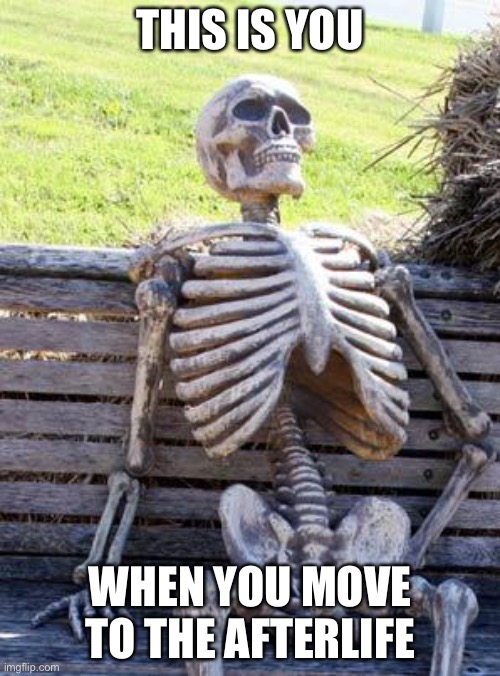 Waiting Skeleton |  THIS IS YOU; WHEN YOU MOVE TO THE AFTERLIFE | image tagged in memes,waiting skeleton | made w/ Imgflip meme maker