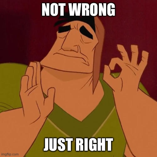 When X just right | NOT WRONG JUST RIGHT | image tagged in when x just right | made w/ Imgflip meme maker