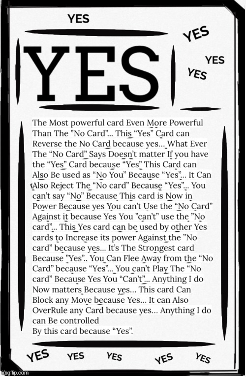 Yes Card | image tagged in yes card | made w/ Imgflip meme maker