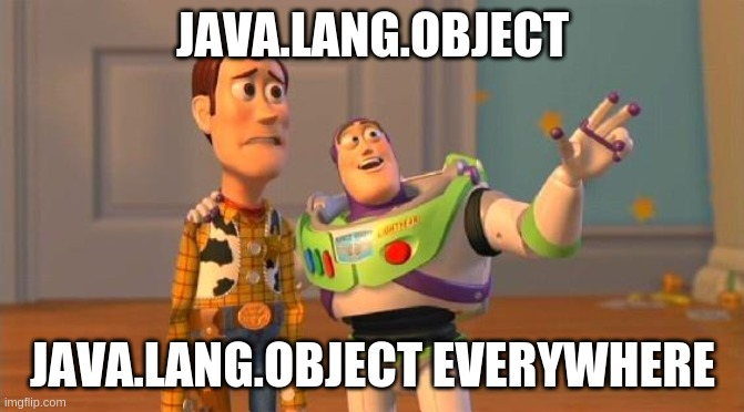TOYSTORY EVERYWHERE |  JAVA.LANG.OBJECT; JAVA.LANG.OBJECT EVERYWHERE | image tagged in toystory everywhere | made w/ Imgflip meme maker