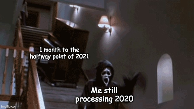 WHEN DID THIS HAPPEN |  1 month to the halfway point of 2021; Me still processing 2020 | image tagged in 2020,2021,memes,funny memes | made w/ Imgflip meme maker