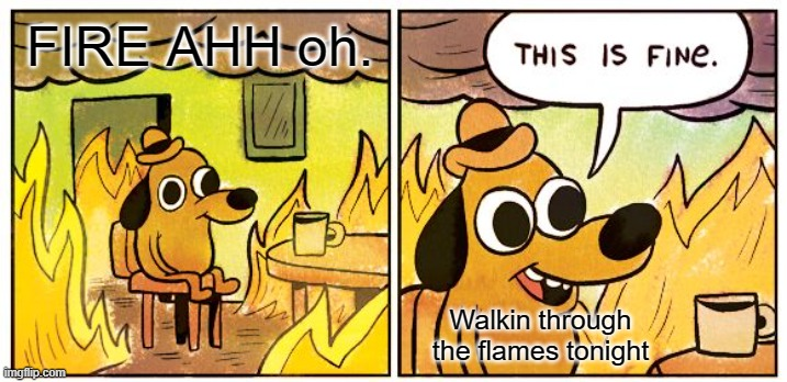 Do not try |  FIRE AHH oh. Walkin through the flames tonight | image tagged in memes,this is fine | made w/ Imgflip meme maker