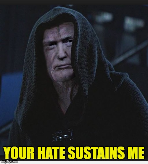 Sith Lord Trump | YOUR HATE SUSTAINS ME | image tagged in sith lord trump | made w/ Imgflip meme maker