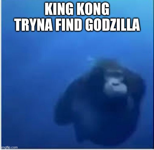 KING KONG TRYNA FIND GODZILLA | image tagged in water monke | made w/ Imgflip meme maker