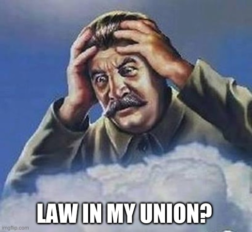 Worrying Stalin | LAW IN MY UNION? | image tagged in worrying stalin | made w/ Imgflip meme maker
