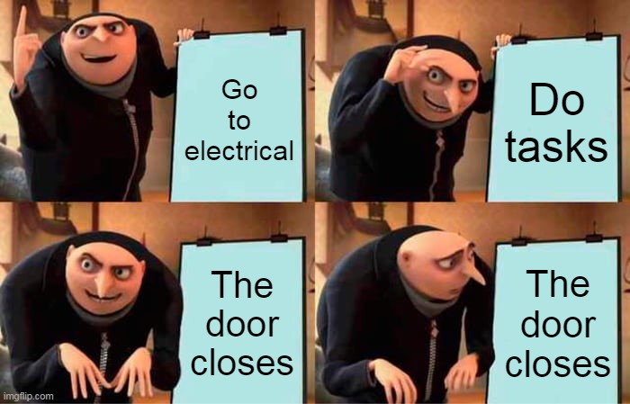 That's electrical, you must never go there Simba. |  Go to electrical; Do tasks; The door closes; The door closes | image tagged in memes,gru's plan,amongus,electrical,among us electrical | made w/ Imgflip meme maker