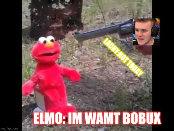 lachy shoots elmo |  LACHY:NOT TODAY; ELMO: IM WAMT BOBUX | image tagged in elmo gets shot | made w/ Imgflip meme maker