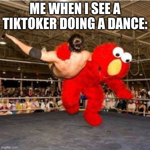Elmo wrestling |  ME WHEN I SEE A TIKTOKER DOING A DANCE: | image tagged in elmo wrestling | made w/ Imgflip meme maker