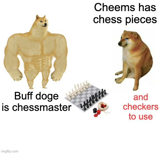 Buff Doge will never see it coming |  Cheems has chess pieces; and checkers to use; Buff doge is chessmaster | image tagged in memes,buff doge vs cheems,chess,games | made w/ Imgflip meme maker