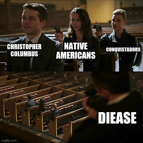 Assassination chain |  CHRISTOPHER COLUMBUS; CONQUISTADORS; NATIVE AMERICANS; DISEASE | image tagged in assassination chain | made w/ Imgflip meme maker