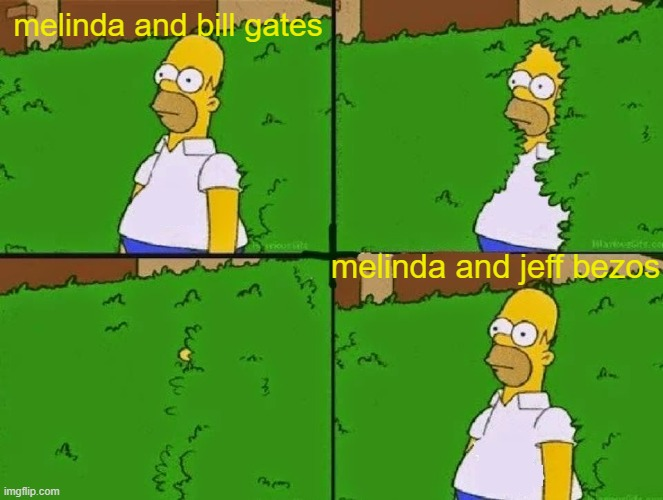 she saw who was wealthier and switched that shit |  melinda and bill gates; melinda and jeff bezos | image tagged in homer switch teams,memes | made w/ Imgflip meme maker