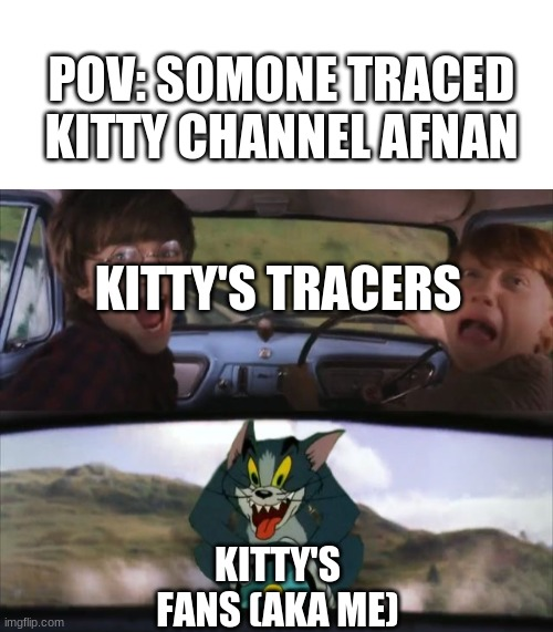 die in a hole, tracers |  POV: SOMONE TRACED KITTY CHANNEL AFNAN; KITTY'S TRACERS; KITTY'S FANS (AKA ME) | image tagged in blank white template,tom chasing harry and ron weasly | made w/ Imgflip meme maker