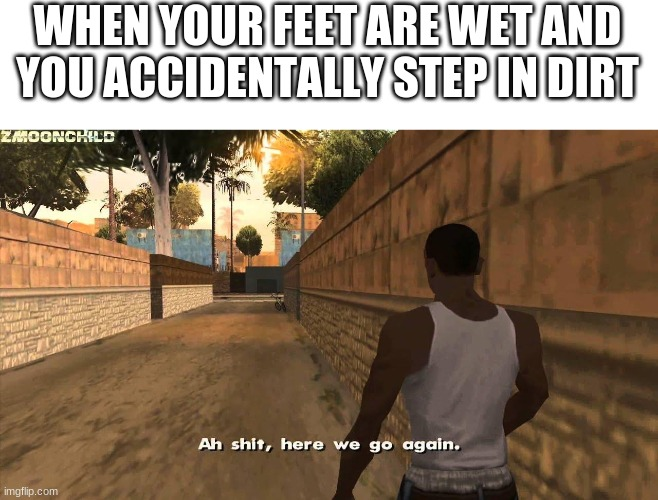 Here we go again |  WHEN YOUR FEET ARE WET AND YOU ACCIDENTALLY STEP IN DIRT | image tagged in here we go again | made w/ Imgflip meme maker