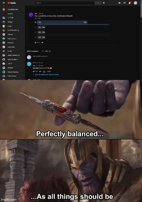 perfectly balanced... | image tagged in thanos perfectly balanced as all things should be,memes,youtube,thanos | made w/ Imgflip meme maker