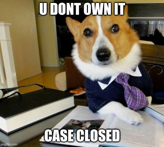 Lawyer Corgi Dog | U DONT OWN IT CASE CLOSED | image tagged in lawyer corgi dog | made w/ Imgflip meme maker