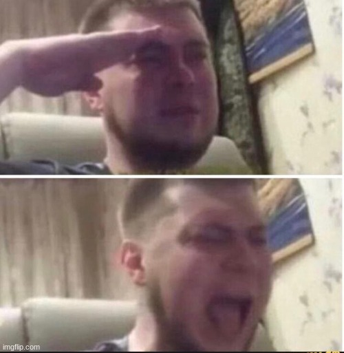 Crying salute | image tagged in crying salute | made w/ Imgflip meme maker