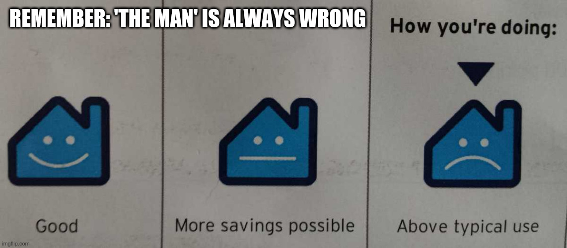 REMEMBER: 'THE MAN' IS ALWAYS WRONG | image tagged in how you're doing | made w/ Imgflip meme maker