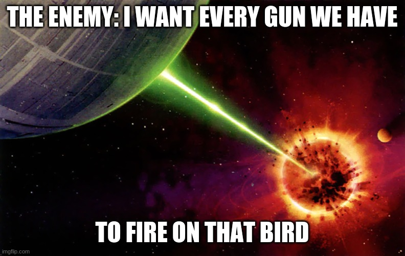 Death star firing | THE ENEMY: I WANT EVERY GUN WE HAVE TO FIRE ON THAT BIRD | image tagged in death star firing | made w/ Imgflip meme maker