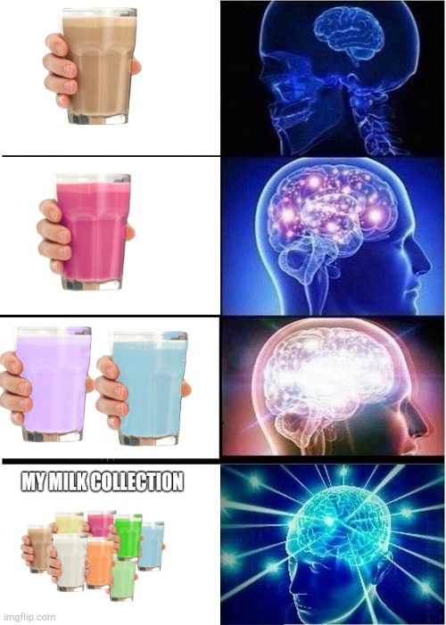Expanding Brain | image tagged in memes,expanding brain,choccy milk,straby milk,milk | made w/ Imgflip meme maker