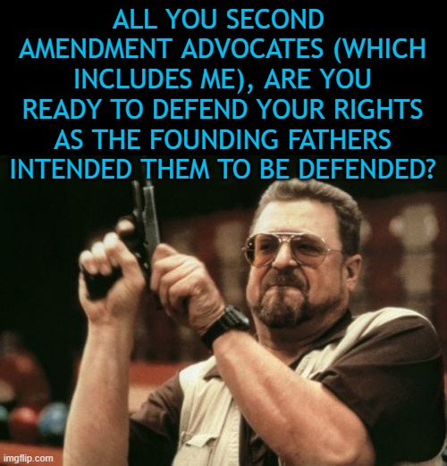 The 2nd Amendment was not written so we could hunt some deer. It was written so we could protect ourselves from oppression. |  ALL YOU SECOND  AMENDMENT ADVOCATES (WHICH INCLUDES ME), ARE YOU READY TO DEFEND YOUR RIGHTS AS THE FOUNDING FATHERS INTENDED THEM TO BE DEFENDED? | image tagged in memes,am i the only one around here | made w/ Imgflip meme maker