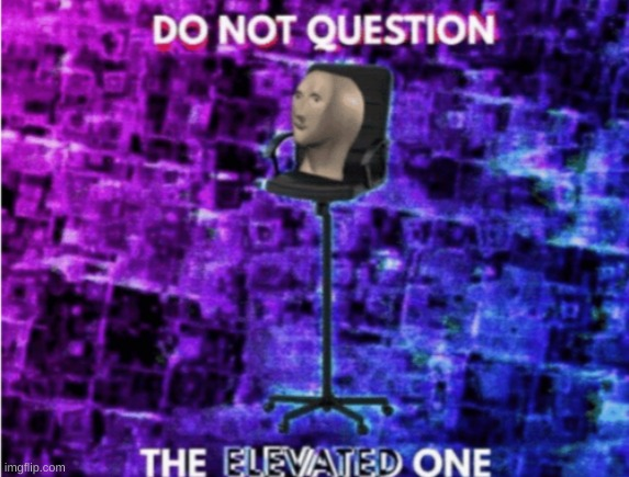 image tagged in do not question the elevated one | made w/ Imgflip meme maker