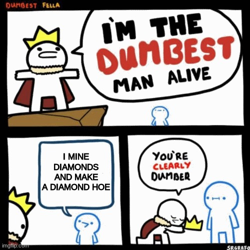 I'm the dumbest man alive |  I MINE DIAMONDS AND MAKE A DIAMOND HOE | image tagged in i'm the dumbest man alive | made w/ Imgflip meme maker