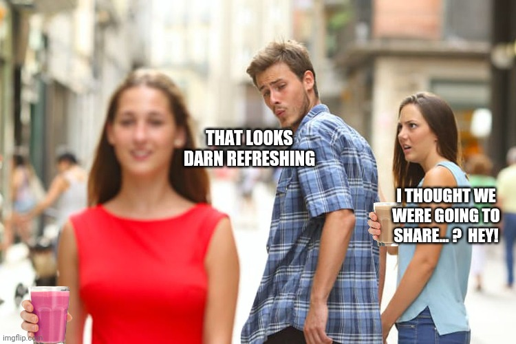 Distracted Boyfriend |  THAT LOOKS DARN REFRESHING; I THOUGHT WE WERE GOING TO SHARE... ?  HEY! | image tagged in memes,distracted boyfriend,choccy milk,straby milk,hey,funny memes | made w/ Imgflip meme maker