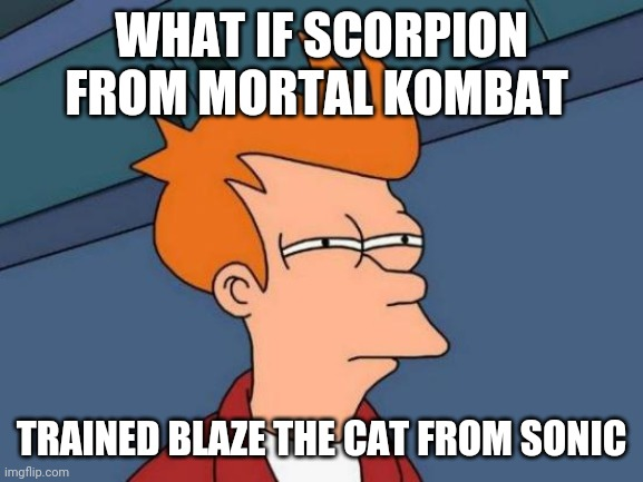 Hol up |  WHAT IF SCORPION FROM MORTAL KOMBAT; TRAINED BLAZE THE CAT FROM SONIC | image tagged in memes,futurama fry,hold up,mortal kombat,sonic the hedgehog,blaze the cat | made w/ Imgflip meme maker