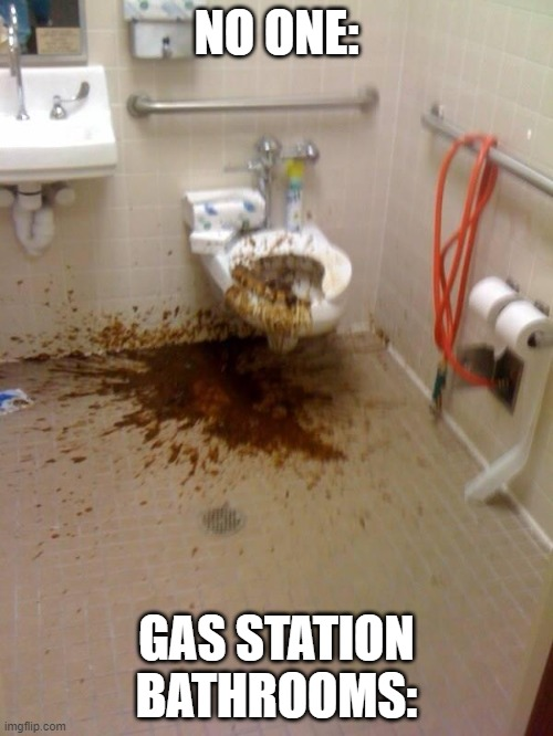 Gas Station |  NO ONE:; GAS STATION BATHROOMS: | image tagged in girls poop too | made w/ Imgflip meme maker