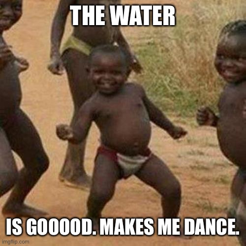 Idk |  THE WATER; IS GOOOOD. MAKES ME DANCE. | image tagged in memes,third world success kid | made w/ Imgflip meme maker