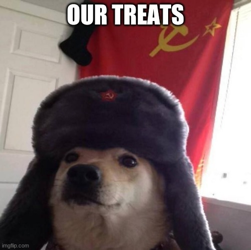 Russian Doge |  OUR TREATS | image tagged in russian doge | made w/ Imgflip meme maker