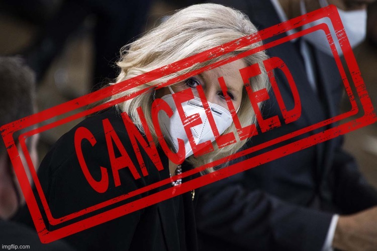 Cheney's OUT! Good!! She does NOT represent our values!!! #MAGA #Trump2024 #NeverTrumpers #RINOsGetRekt | image tagged in liz cheney cancelled,cancelled,republican party,republican,cancel culture,trump | made w/ Imgflip meme maker