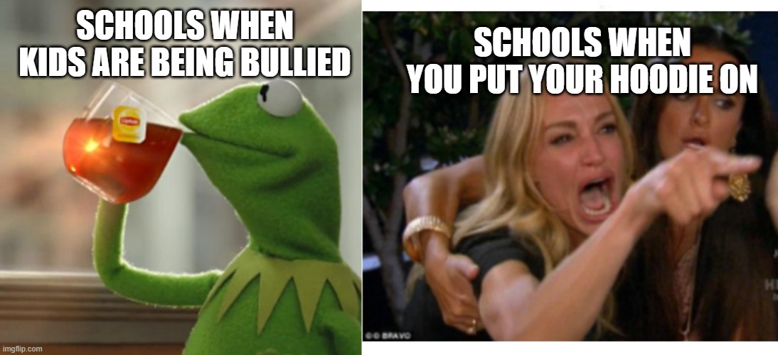 schools in a nutshell |  SCHOOLS WHEN YOU PUT YOUR HOODIE ON; SCHOOLS WHEN KIDS ARE BEING BULLIED | image tagged in school memes | made w/ Imgflip meme maker