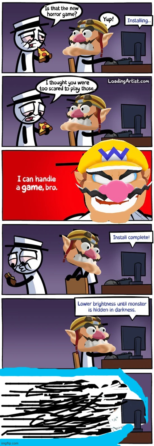 wario dies by expirencing light .mp3 | image tagged in comics,wario dies | made w/ Imgflip meme maker
