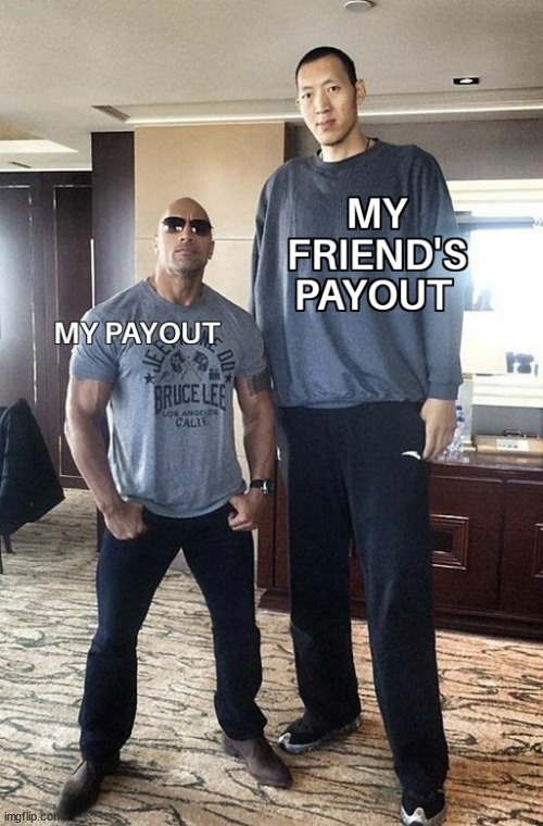 difference between my payout and my friends payout | image tagged in memehub,hive,cryptocurrency,crypto,meme,fun | made w/ Imgflip meme maker