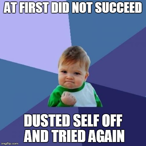 Success Kid Meme | AT FIRST DID NOT SUCCEED DUSTED SELF OFF AND TRIED AGAIN | image tagged in memes,success kid | made w/ Imgflip meme maker