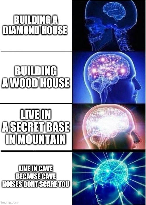 Living arrangement |  BUILDING A DIAMOND HOUSE; BUILDING A WOOD HOUSE; LIVE IN A SECRET BASE IN MOUNTAIN; LIVE IN CAVE BECAUSE CAVE NOISES DONT SCARE YOU | image tagged in memes,expanding brain | made w/ Imgflip meme maker